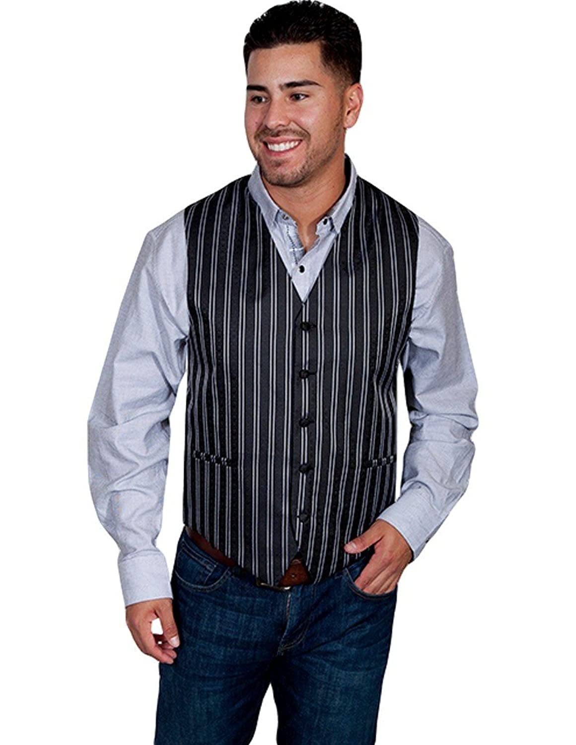 Men's Vintage Inspired Vests Scully RW169N Mens Sophisticated Double Pinstripe Western Vest $55.05 AT vintagedancer.com
