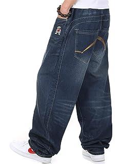 204e91d7 WoowTry Men's Multi-Style Nightclub Straight Type Hip Hop Little Baggy Denim  Jeans