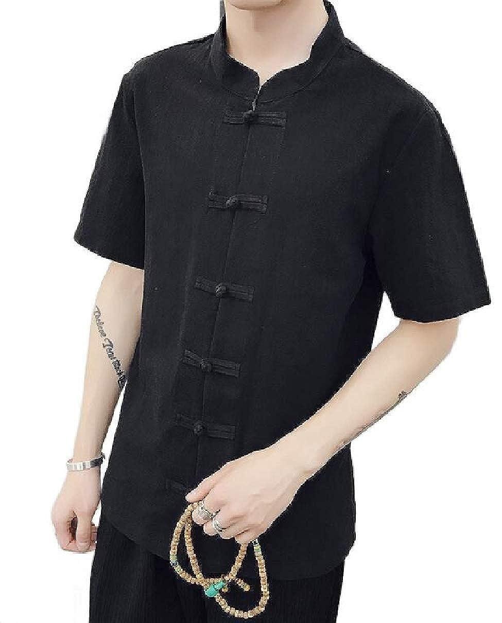 Xswsy XG Mens Chinese Style Short-Sleeve Mandarin Collar Slim Button Down Shirt