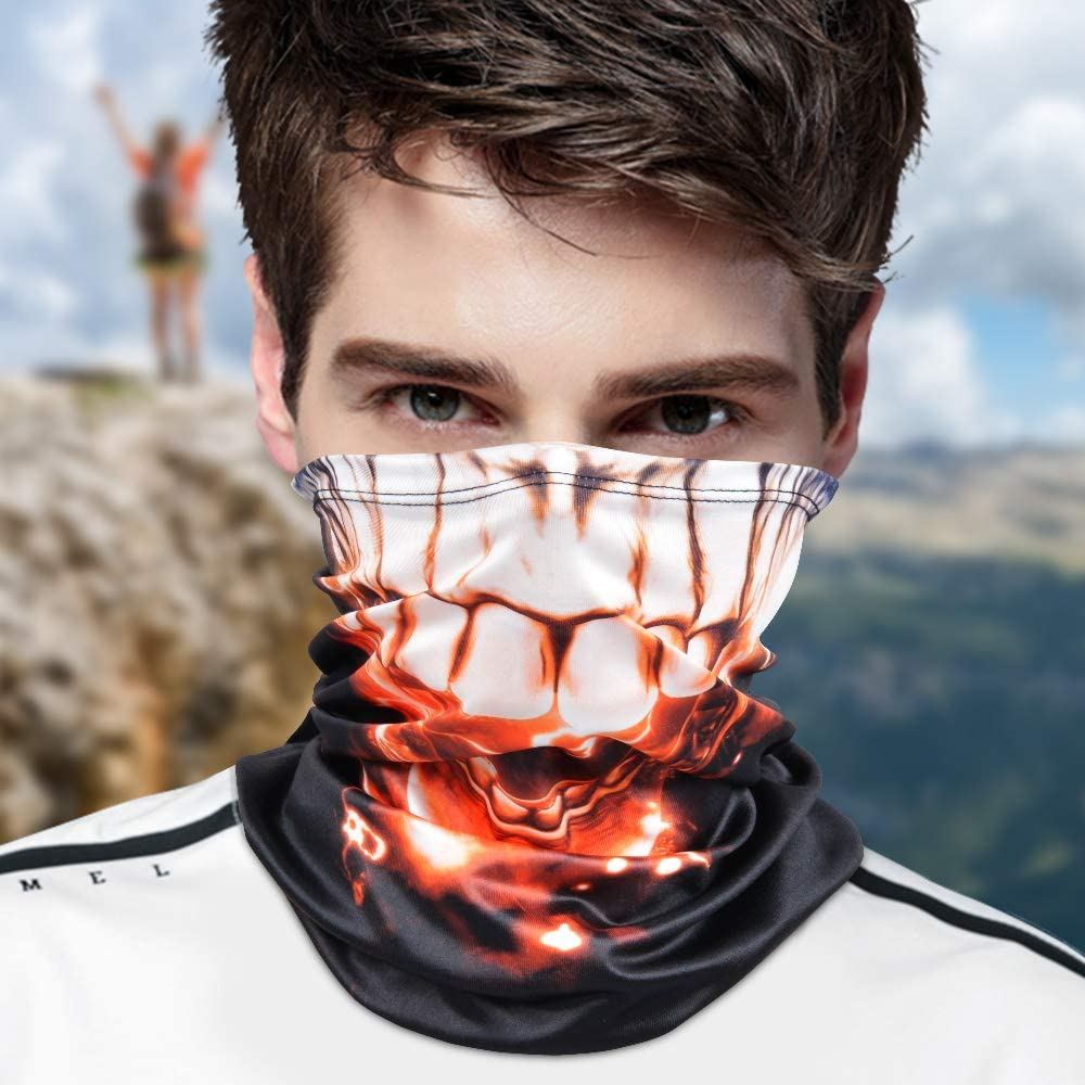 Motorcycle Face Bandana for Women Men Face Scarf/… BRIGHT MOON Unisex Seamless Rave Bandana Neck Gaiter Tube Headwear Bandana