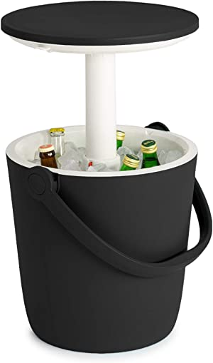 Keter Go Bar 4.2 Gallon Beer and Wine Cooler with Handle and Pop Up Outdoor Table Perfect for Your Patio, Picnic, and Beach Accessories, Graphite