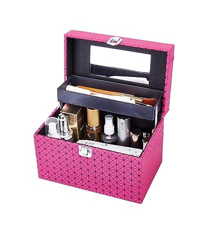 Cuero rosado 2 capa funda de viaje de maquillaje, estuche de ...