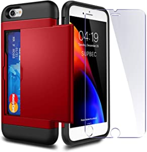 iPhone 7/8 / SE 2020 Case with Card Holder and[ Screen Protector Tempered Glass x2Pack] SUPBEC i Phone 7/8/SE 2 Wallet Case Cover with Shockproof Silicone TPU + Hard PC Full Protective-Red