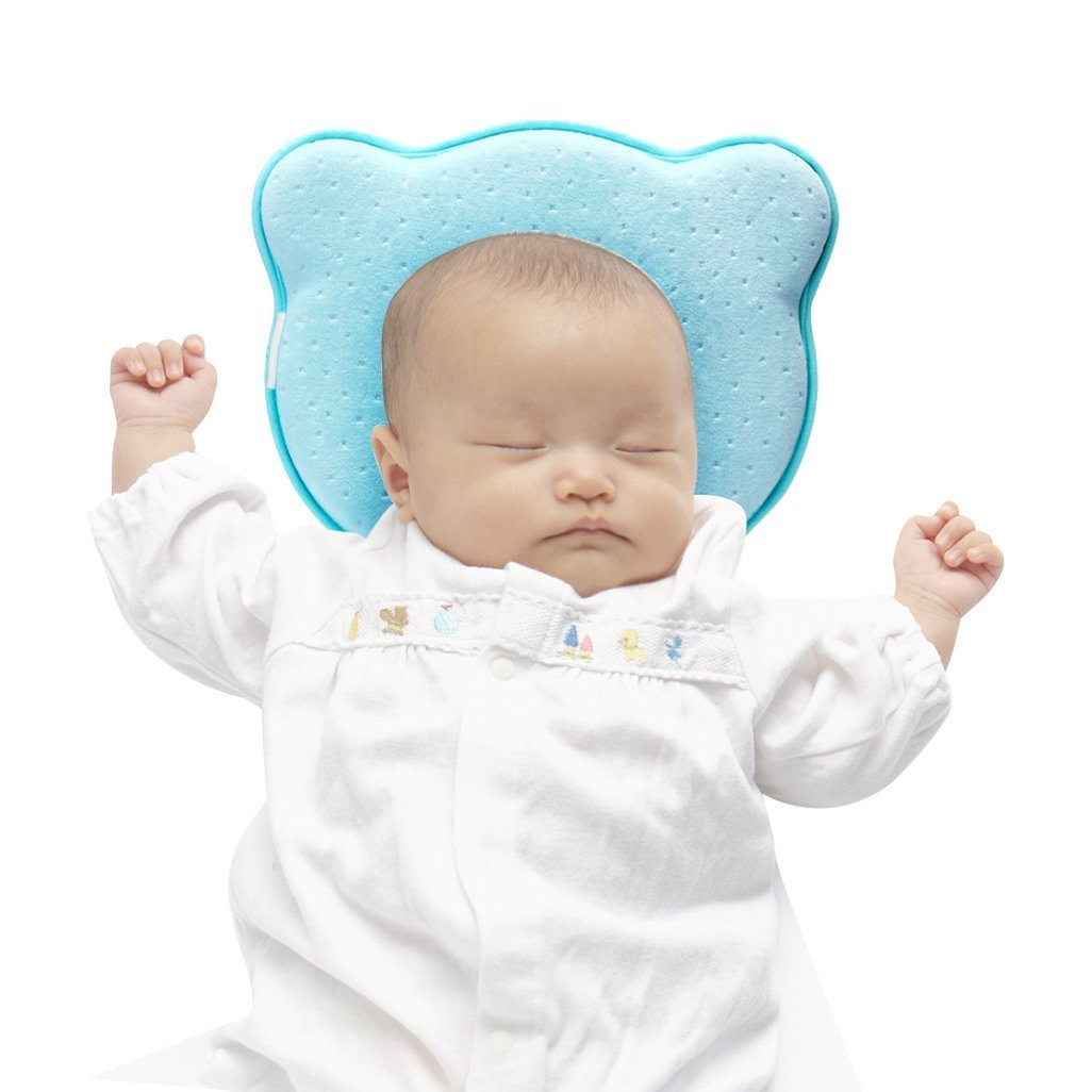 Bear with Pink Pillowcase Lexikind Baby Pillow To Prevent Flat Head Syndrome Plagiocephaly
