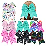 inSowni 8pcs 8'' Cheerleading X-large Bow Elastic Hair Bands Ties Ropes Ponytail Holder for Baby Girls Toddlers Kids (8PCS S8)