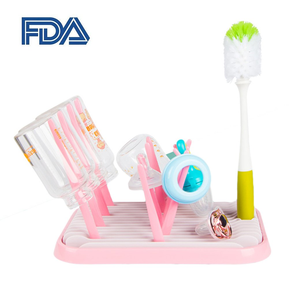 Baby Bottle Drying Rack with Bottle Cleaning Brush, FDA Passed Flodble Drying Rack Tree ODCOLTD