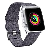 For 38mm Apple Watch Band Women, Woven Canvas Nylon iWatch Bands Replacement Wristband Strap for 38mm New Apple Watch Series 3 Series 2 / Series 1 (Woven/Dark Grey, 38mm)