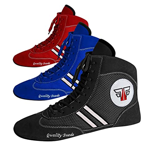 newest selection elegant and graceful novel design Fox Fight Sambo Quality Suede Leather Shoes Ringer Wrestling Mat Shoes In  Black/Blue/Red