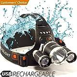 Headlamp - LED Head Torch - USB Rechargeable Headlamp Flashlight - Waterproof & Comfortable Headlight - Battery Powered Helmet Light - Ideal Head Lantern for Walking, Running, Camping & More