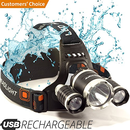 Price comparison product image Headlamp - LED Head Torch - USB Rechargeable Headlamp Flashlight - Waterproof & Comfortable Headlight - Battery Powered Helmet Light - Ideal Head Lantern for Walking, Running, Camping & More