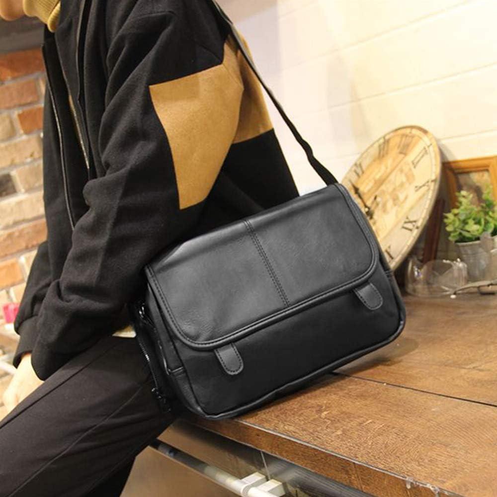 BAGZY Mens Leather Shoulder Bag Messenger Bag for Men Women Sling Satchel Crossbody Business Travel Bag School Bag for Ipad Tablet Mobile Phone Wallet Black