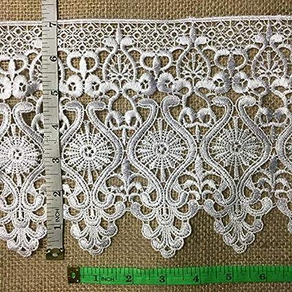 1 Yard Lace Trim 7 Wide Choose Color Venise Ancient Pottery Design Multi-Use ex Garments Bridal Decoration Crafts Veils Slip Extender Costumes Ivory
