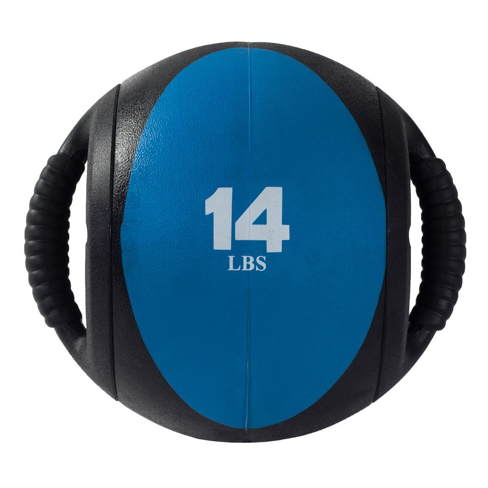 Power Systems CorBall Plus, Medicine Ball with 2-Handles, 9 Inch Diameter, 14 Pounds, Royal Blue (28314)