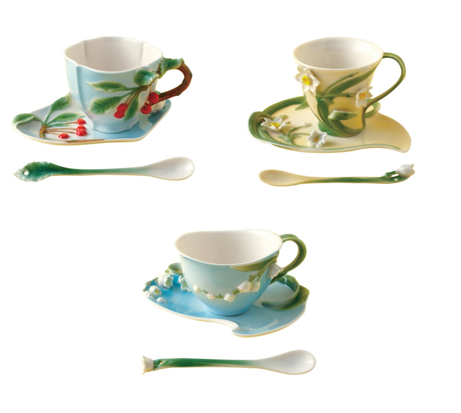 Twos Company Garden Party Tea Set- 3 Cup, Saucer and spoon sets - (Cherry, Narcissus and Lilly of Valley)