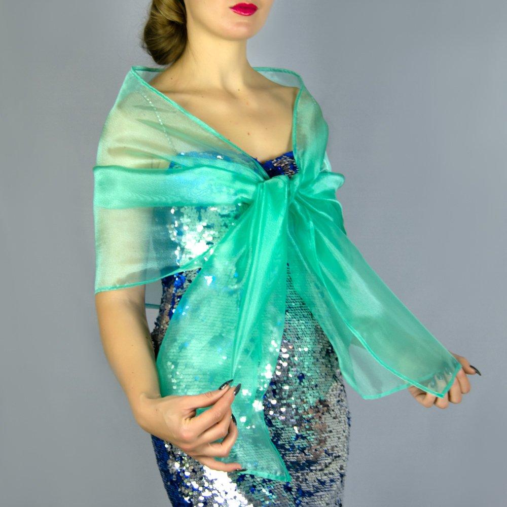 Chal organza color verde turquesa novia boda novia para vestido de fiesta: Amazon.es: Handmade