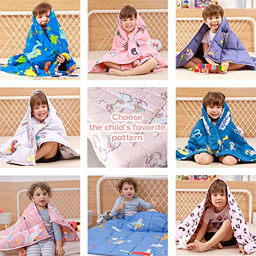 Anjee Coperta ponderata per Bambini, Coperta Pesante in 100% Cotone Naturale per Bambini e Adolescenti, 3 kg 100 x 150 cm, Piano Blu