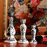 blue and white porcelain candle holder Chinese-style house ceramic candle holder hand-carved candle holders-D