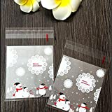 Leoie 100PCS Candy Packaging Bags Clear Christmas Decor Self-Adhesive