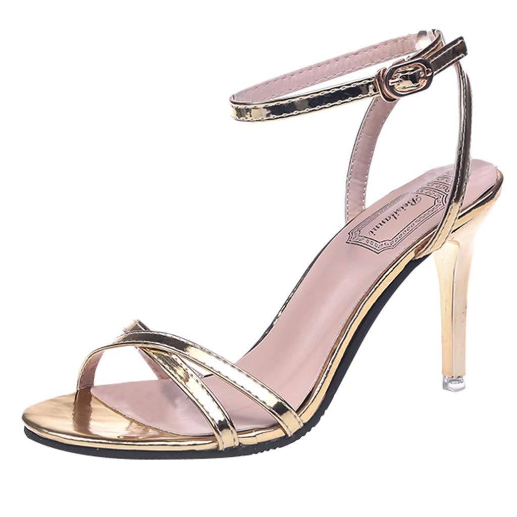 Selomore Women's Heeled Sandals Single Shoe Ankle Strap Open Toe Sandals Bridal Party Shoes (Gold,US: 7)