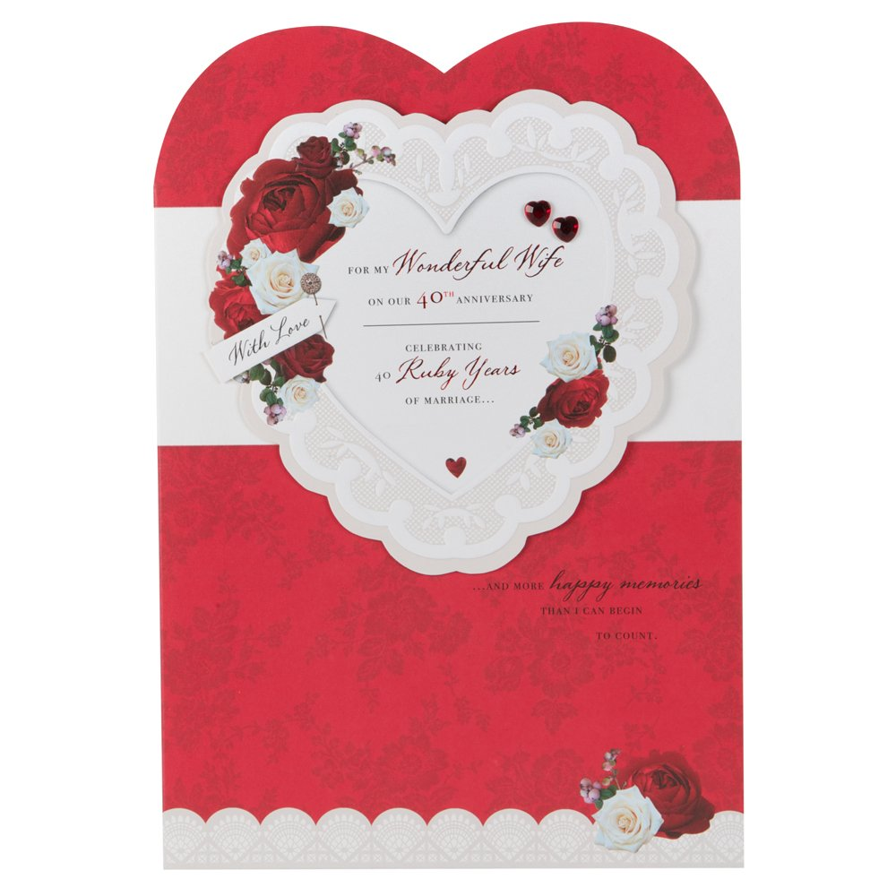 Hallmark 40th Ruby Anniversary Card For Wife Happy Memories