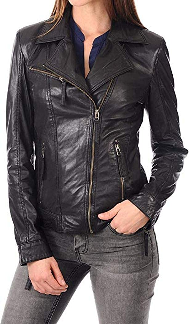 Blacks4 DOLBERG CREATIONS Sheepskin Leather Jacket for Womens