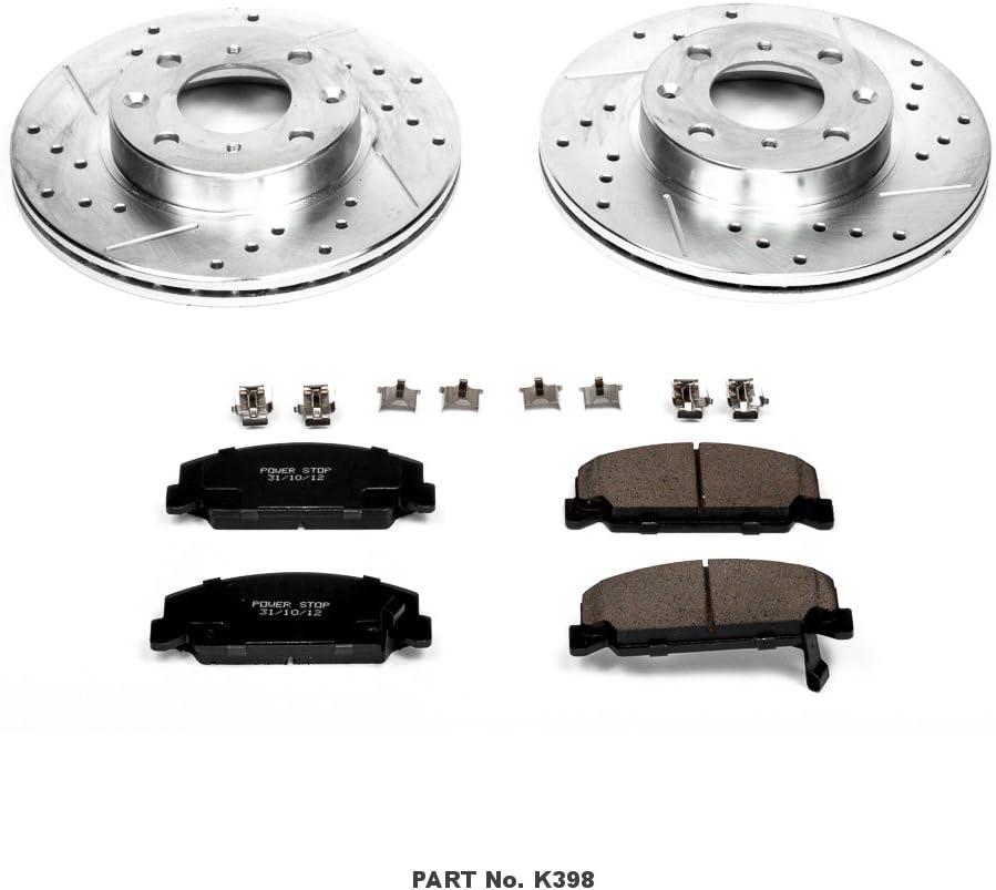 Power Stop K2187 Front Brake Kit with Drilled//Slotted Brake Rotors and Z23 Evolution Ceramic Brake Pads