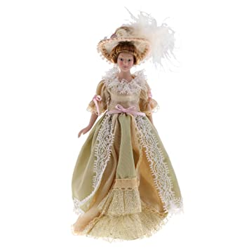 728f28b78ea Buy Prettyia 1 12 Dollhouse Porcelain Dolls Victorian Lady in Light Green  Dress Wi  Stand Online at Low Prices in India - Amazon.in