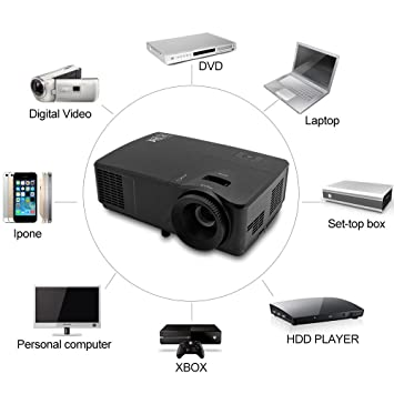 EUG LED Projector Home Cinema HD 1080p Support USB VGA HDMI ...