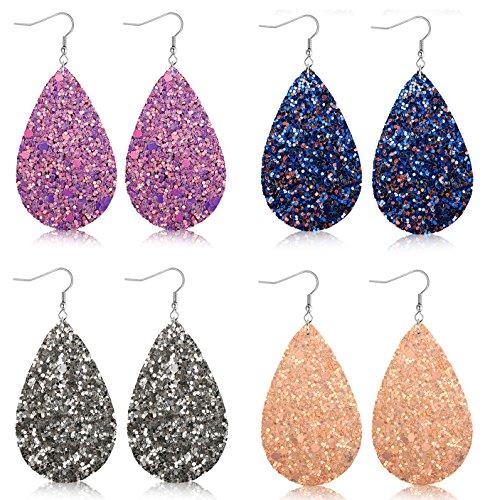 Dangle Leather (FIBO STEEL 4 Pairs Teardrop Leather Earrings for Women Girls Statement Druzy Dangle Earring Set)