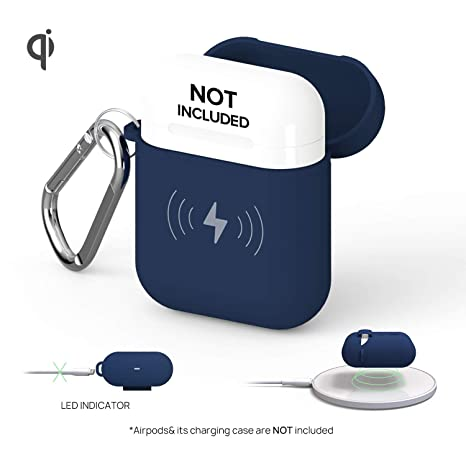 arrives 1c259 7294a GAZEON Qi Wireless Charging Airpods case | Gaze Airpods Case Cover  Protective Case Holder Compatible with AirPods (Midnight Blue)