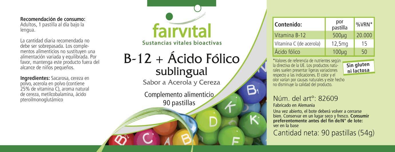 B-12 y sublingual ácido fólico - GRANEL durante 3 meses - VEGANO - 90 comprimidos - absorción rápida a través de la mucosa oral: Amazon.es: Salud y cuidado ...