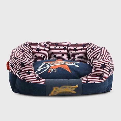DSAQAO Cama del Perro de Forma Oval Lona de Lino Mezclado, Movible Cubierta Lavable Colchoneta