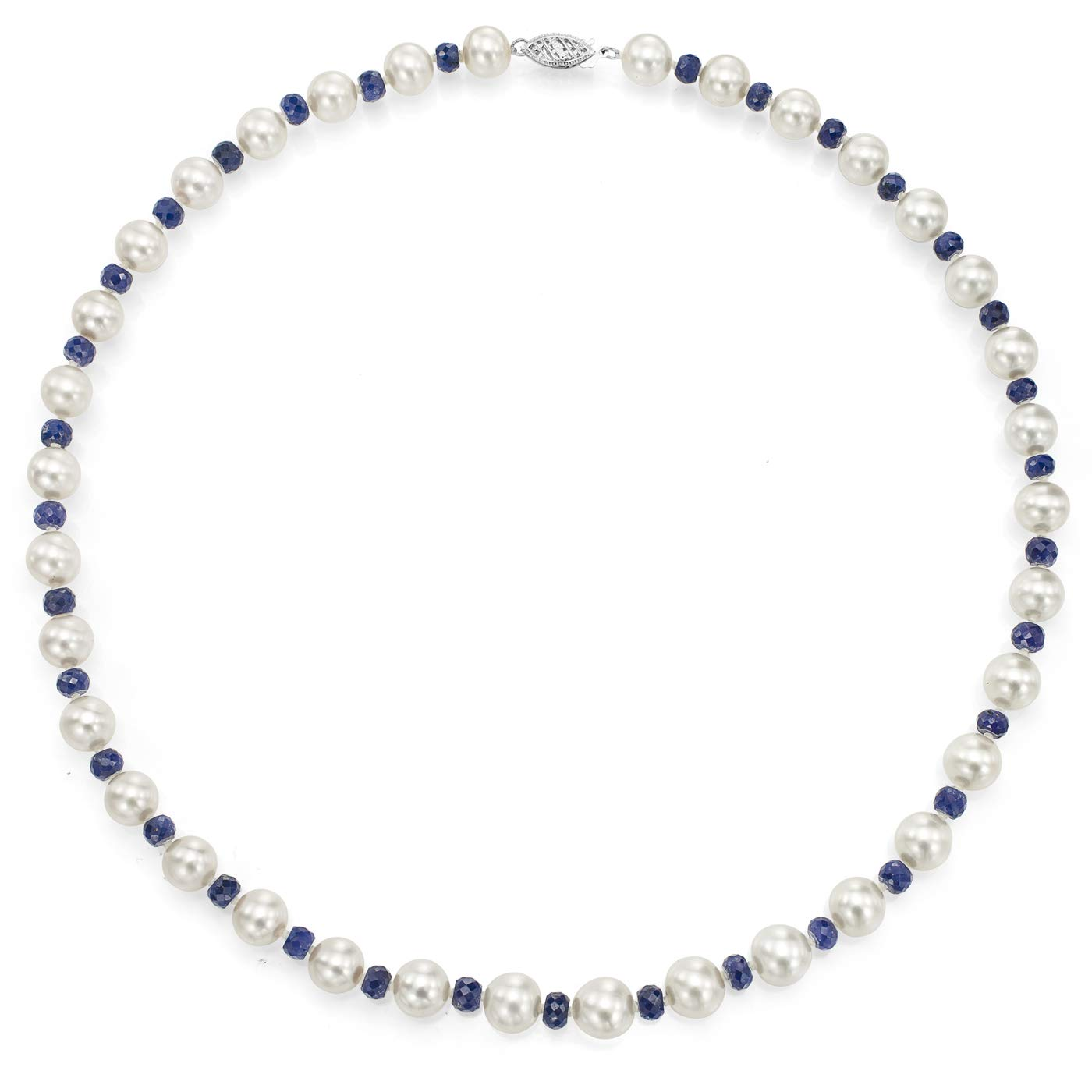 14K White Gold Freshwater Cultured White Pearl Sapphire Necklace Anniversary Gift 18 inch 8-8.5mm by La Regis Jewelry