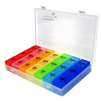 Rainbow Weekly Pill Organizer with Snap Lids| 7-day AM/PM | Detachable Compartments...