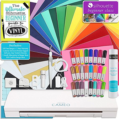 Silhouette Cameo 3 Bluetooth Starter Bundle with 24 Oracal 651 Sheets, Transfer Paper, Guide, Class, 24 Sketch Pens (24 sheets) by Silhouette America