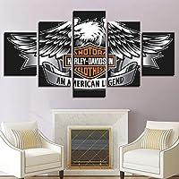 Dmyhope Stampa su Tela 5 Pezzi Modern Harley Davidson Logo Stampe su Tela Home Artwork Dipingere Quadri Decorativi