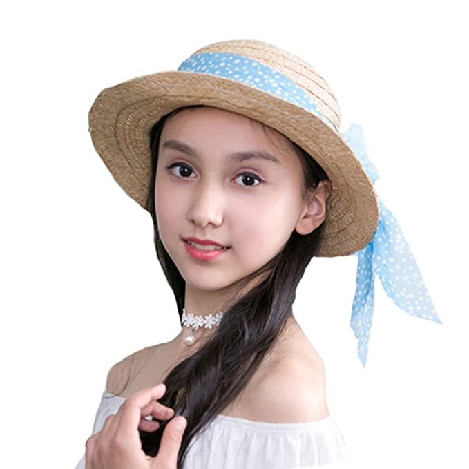 Sombrero Panamá de Paja Bebé Niñas Para Viaje Gorro Flor Cinta Sombrero  Verano 83dc0d7a6fe