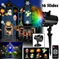 Led Christmas Light Projector - Led Landscape Spotlight with 16 Full Color Slides Motion Led Projector Light for Halloween,Thanksgiving,Birthday,Party,Easter,Wedding,Holiday Decoration