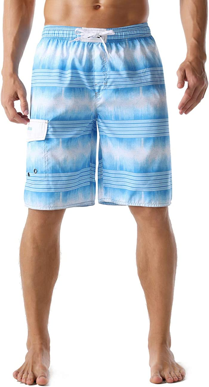 Unitop Men's Swim Trunks Colortful Striped Beach Board Shorts with Lining