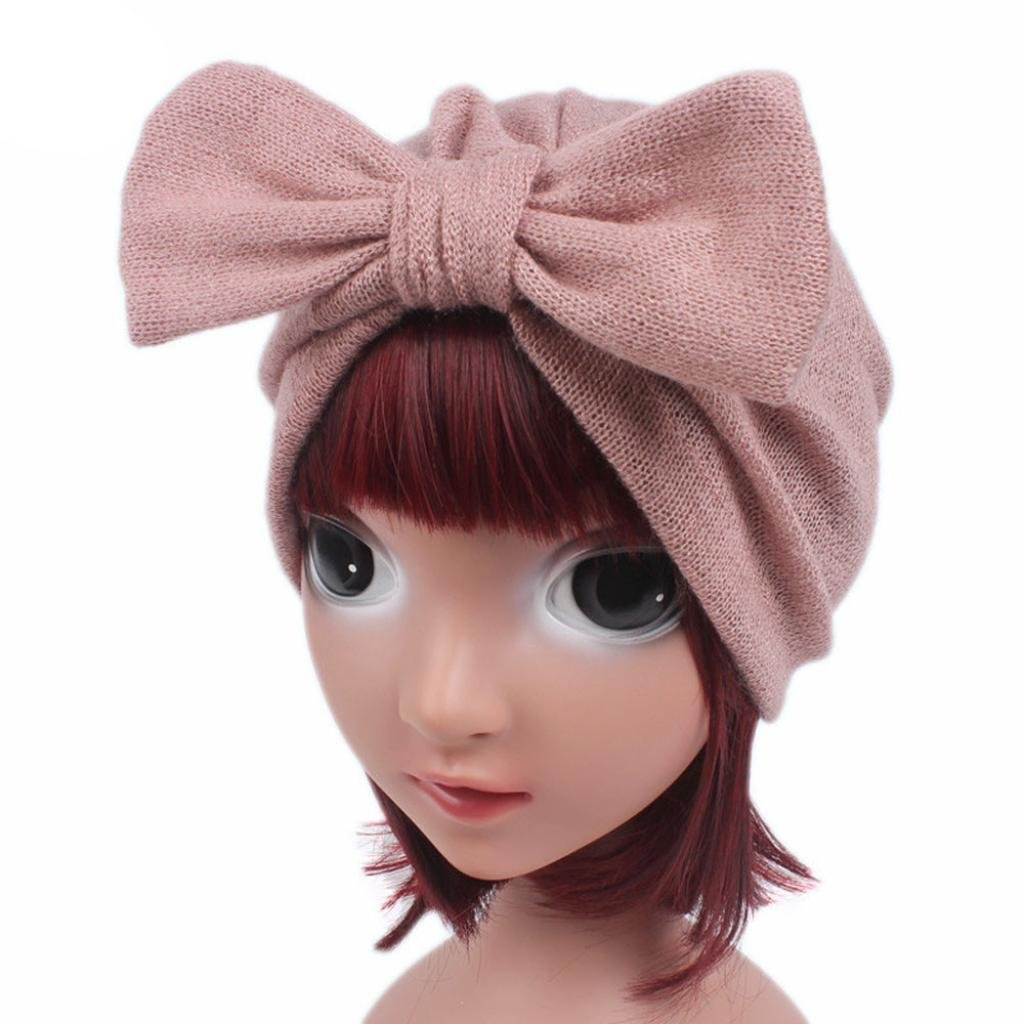 Creazy Children Baby Girls Boho Hat Beanie Scarf Turban Head Wrap Cap (Pink)