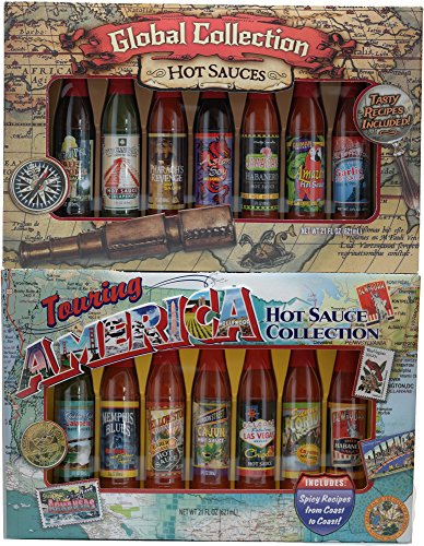 Touring America and Global Hot Sauce Collection Gift Sets (14 Bottle Variety Bundle Pack)