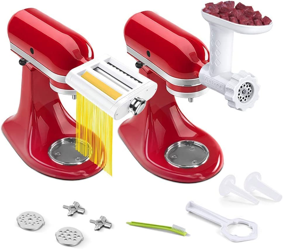 ANTREE Pasta Maker Attachment 3 in 1 Set for KitchenAid and Food Meat Grinder Attachments for KitchenAid Stand Mixers