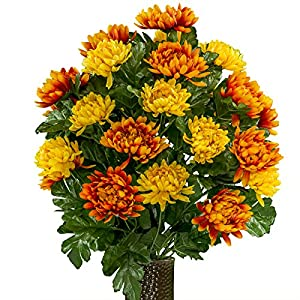 Rubys Silk Flowers Orange and Yellow Mums, featuring the Stay-In-The-Vase Design(C) Flower Holder (LG2026) 71