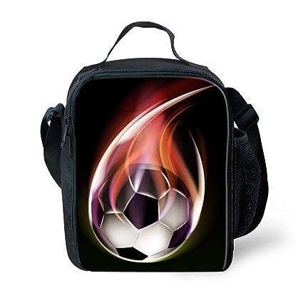 3c0e74dfcf Amazon.com  FOR U DESIGNS Flame Soccer Print Fashion Insulated Lunch ...