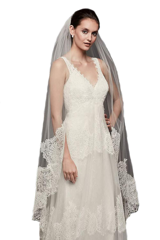 Passat Ivory 1T Long Cathedral Eyelash French Soft Lace-Edge bride veil DB122