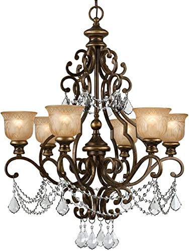 Crystorama 7516-BU-CL-MWP Crystal Accents Six Light Chandelier from Norwalk collection in Bronze Darkfinish,