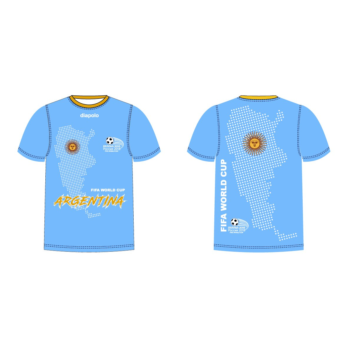 Diapolo Professional Atmungsaktiv Qualitativ Hochfertiger Funktion Fan T-Shirt Argentina S M L XL XXL