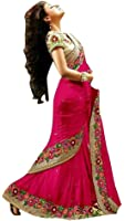 Sunshine Fashion Pink Color Paper Silk Fabric Embroidery Saree ( New Arrival Latest Best Choice and Design Beautiful Sarees and Salwar suits and Dress Material Collection For Women and Girl Party wear Festival wear Special Function Events Wear In Low Price With Todays Special Offer with Fancy Pattern Designer Blouse and Bollywood Collection 2017 Good Looking Clothes )