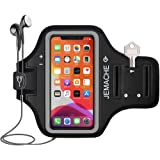 "iPhone X/XS/11Pro Armband, JEMACHE Water Resistant Gym Running Workout/Exercise Sport Arm Band Case for iPhone X/XS, iPhone 11 Pro (5.8"") with Key Holder (Black)"