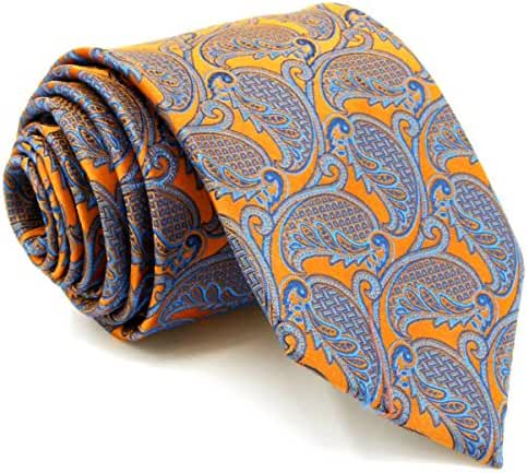 Shlax&Wing Geometric Orange Blue Mens Neckties Ties Fashion Wedding Silk Long